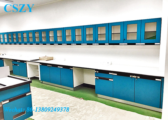 Testing Laboratory Bench With Cabinet Fitting Machines Apparatus In Biology Lab